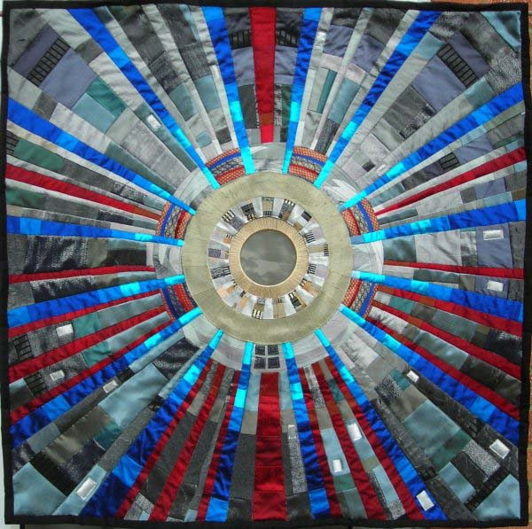 Art quilt inspired by the Large Hadron Collider