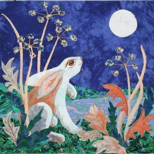 Hare gazing at moon